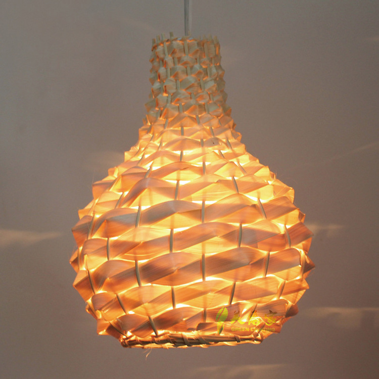 <strong>Modern</strong> Beautiful Rattan Pendant lamp Brown Shade for Living Room restaurant bar