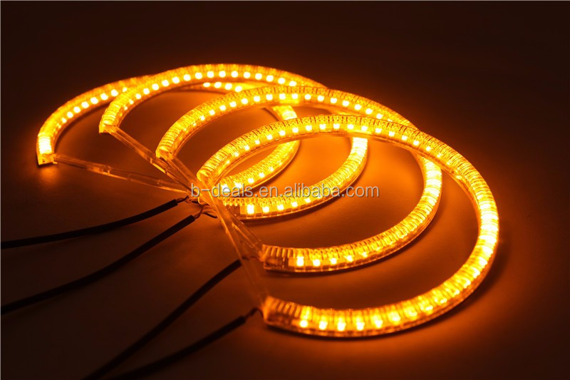 Dual color angel eyes White+Amber 3528 SMD Angel Eyes e36 e38 e39 for bmw e46 projector