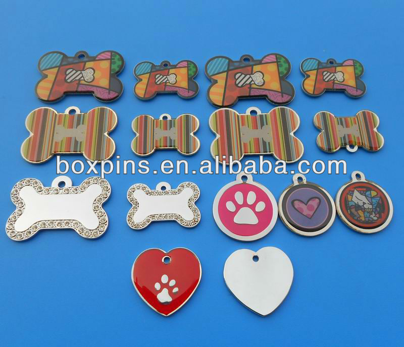 kinds of shape bone round heart pet dog collar tag cheap wholesale