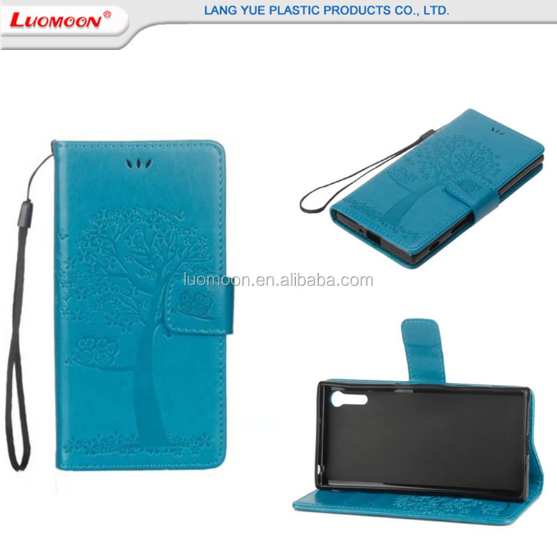 Good Quality Embossed Wallet Pu Leather Phone Case For Sony E5 E6 X compact Design With Lady Handbag Card Slots Cell Phone Case