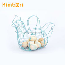 blue docorative storage metal wire kitchen hanging basket for egg