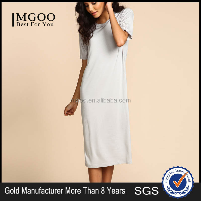 MGOO High Quality Wholesale Grey Knitted Sleep Dress For Ladies Simple Long T-shirt Dress Shift Cotton Dress