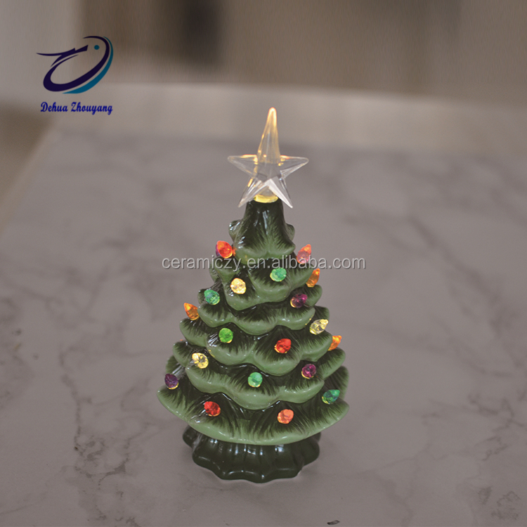 Green Tabletop Decorative Led Bulb Ceramic Christmas Tree Buy