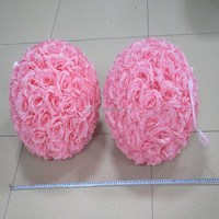 2016 hot sale factory price 30cm artificial silk rose flower ball fake pink flower ball for wedding