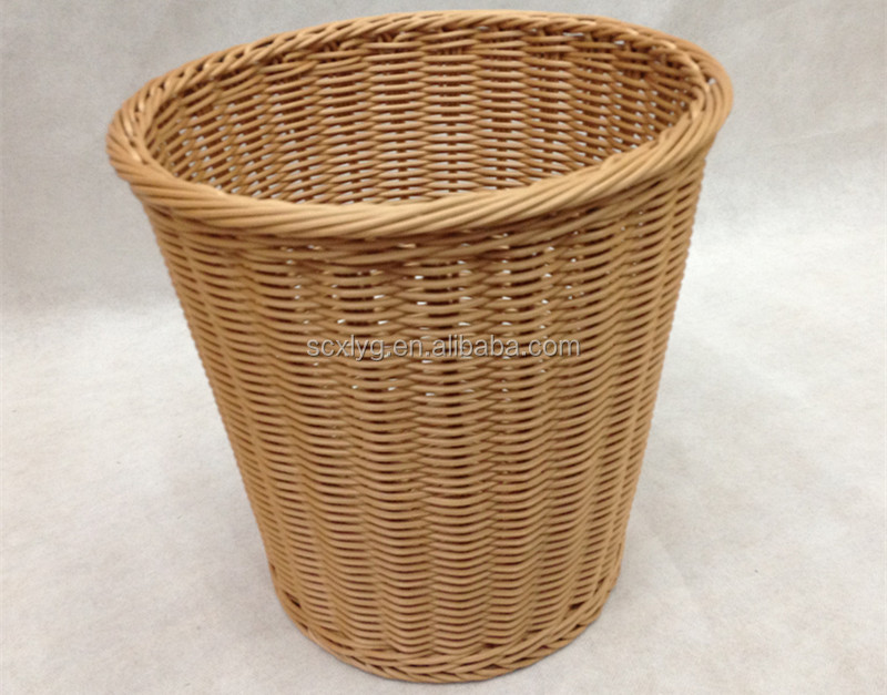 Versatile rattan wastebasket for garbage and rubbish and waste paper