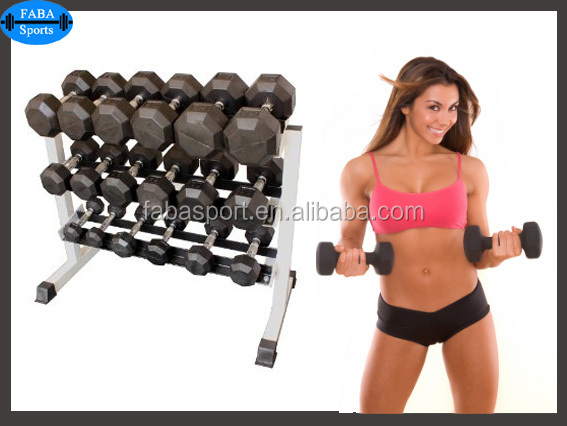 Free weight/Hex rubber coated dumbbell