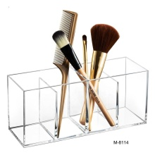 Makeup Brush Holder Organizer 3 Slot Acrylic Cosmetics Brushes Storage and Accessories on Vanity Dresser