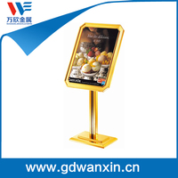 Gold metal Sign stand with adjustable height poster display for hotel