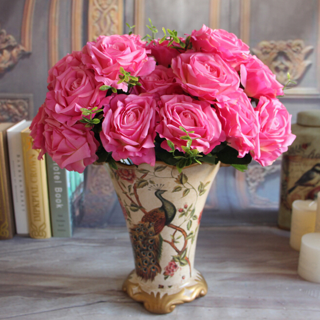 GNW pink wedding flower rose wholesale large artificial flowers bunch for wedding decoration
