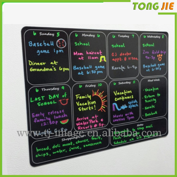 Hot Sale Dry Erase Magnetic Weekly Calendar Planner , Black Flexible Chalkboard Style Magnet Board for Refrigerator
