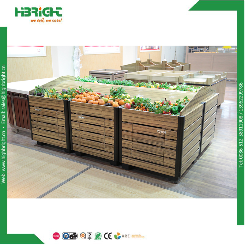 supermarket wood dried fruit and vegetable display stand