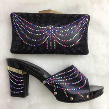 Beautiful Pattern High Heel Shoes And Matching Bags To Party Women