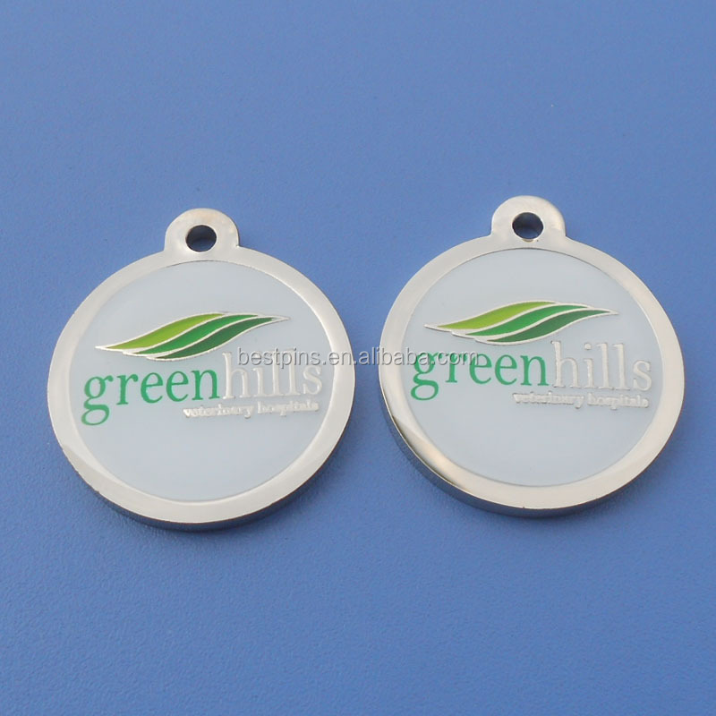 green hills silver finish metal tags round with hole attach to key paper card packaging