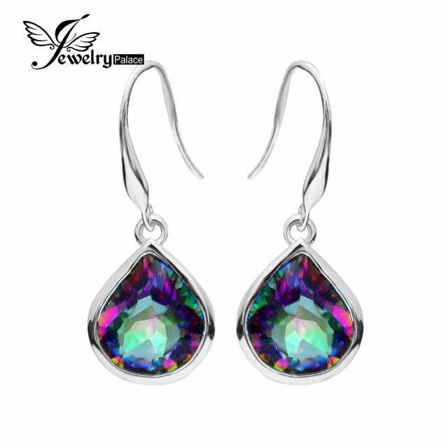 8.6ct Genuine Rainbow Fire Mystic Topaz Dangle Earrings 925 Solid Sterling Silver Sets Luxury Gift For Women