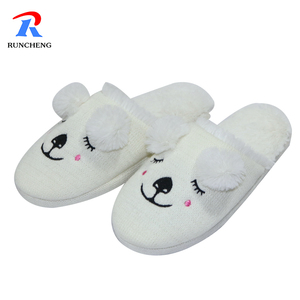 Women's knitted anti-slip cashmere fashion soft plush indoor slippers for women