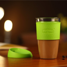 High quality 16oz glass cup manufacturer / borosilicate glass mug / silicone coffee cup cover lid