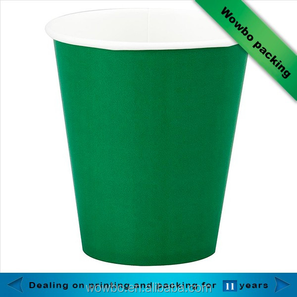 Single color green pink 8oz paper water cups custom made
