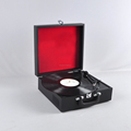2018 New Product 300x282x125mm Black Suitcase Turntable Record Player