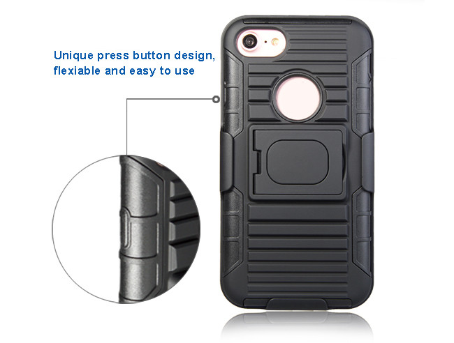 Shockproof 3 in 1 tpu pc hybrid kickstand belt clip holster phone case for iphone 7 7 plus