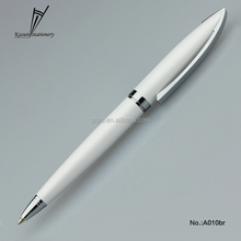 white office writing metal ball pen for business gift