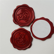 Red Plastic Adhesive Wax Seal Labels, wax seal stamp stickers for envelopes