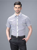 2013 latest trendy short sleeve breathable check/plaid Formal shirts for men with one pocket