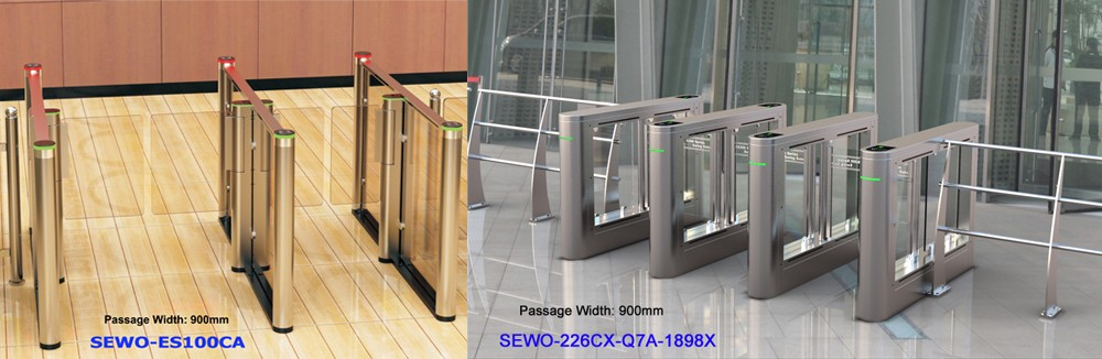 NO VOICE Brushless Motor RFID High speed flap gate barrier for building access control management