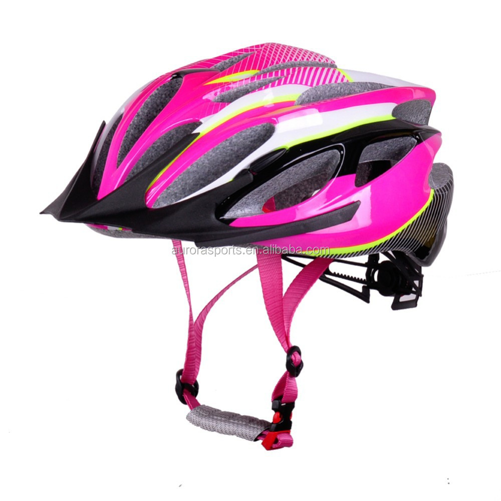 Prefessional helmet supplier on Amazon durable pc in-mold lady bicycle helmets with sun visor