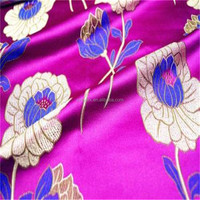 Purple lotus silk brocade dress placemates sewing decoration curtain fabric diy