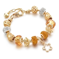 Wholesale Gold Plated Crystal Beads Beaded Heart Charm Beads With Crown Bracelet Women Jewelry