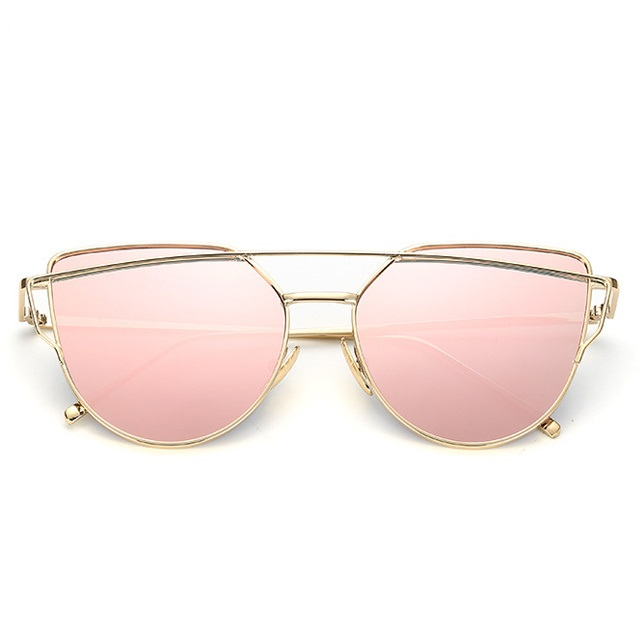 HOT <strong>sale</strong> in Amazon STOCK Women Cat Eye Mirrored Flat Lens Sunglasses UV400