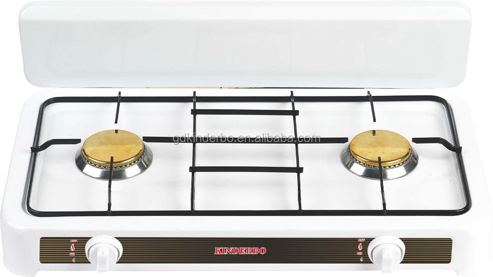Half cover dual burner cook top gas cooker
