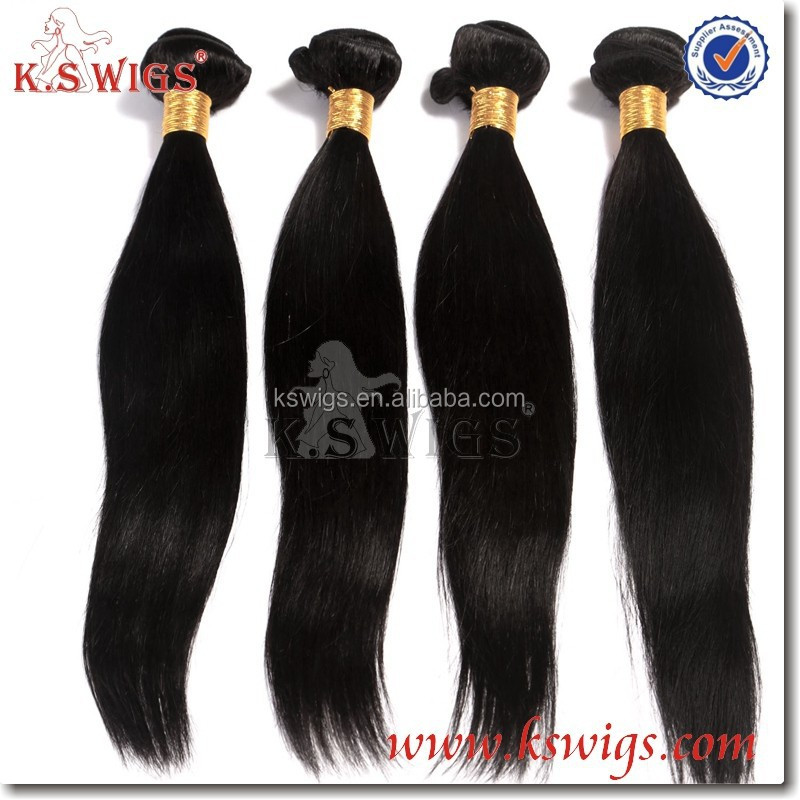 K.S WIGS Alibaba express wholesale cheap 100% silk straight natural black color unprocessed human virgin peruvian hair