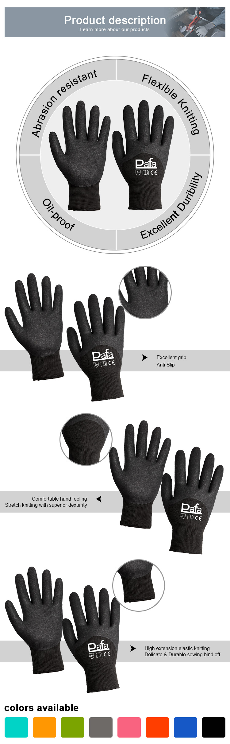 Durable in use black nitrile coated polyester working gloves