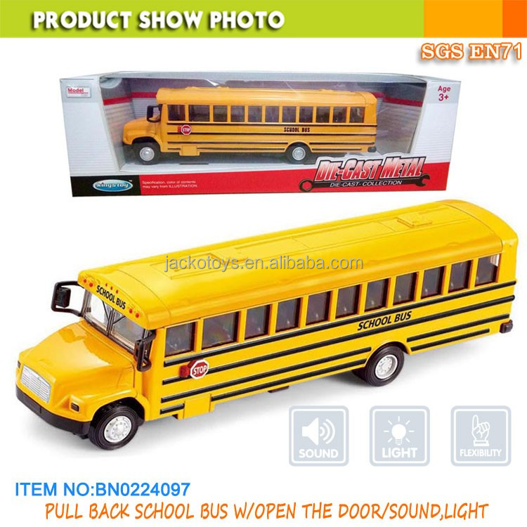 Pull back school bus diecast toy car with openable door,sound and light