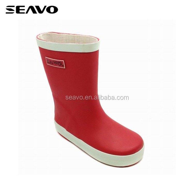SEAVO SS18 cheap clear kids plain rubber best walking design red rain boots