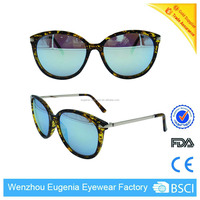 2017 new mould mirror lens plastic frame metal temple sunglasses