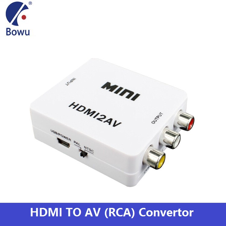 HDMI Video Converter Box HDMI to RCA AV/CVSB L/<strong>R</strong> Video 480P 720P <strong>1080P</strong> HDMI2AV Support NTSC PAL Output HDMI TO AV Adapter