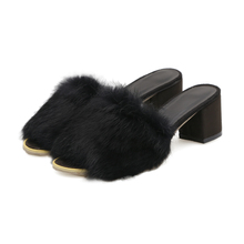 Ladies fur sexy and comfortable platform high heel slippers with rabbit fur and rubber outsole