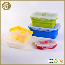 Easy carry folding food grade kitchen silicone rubber lunch box
