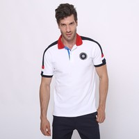 95% cotton 5% elastane mens short sleeve color combination embroidery sports polo t shirt