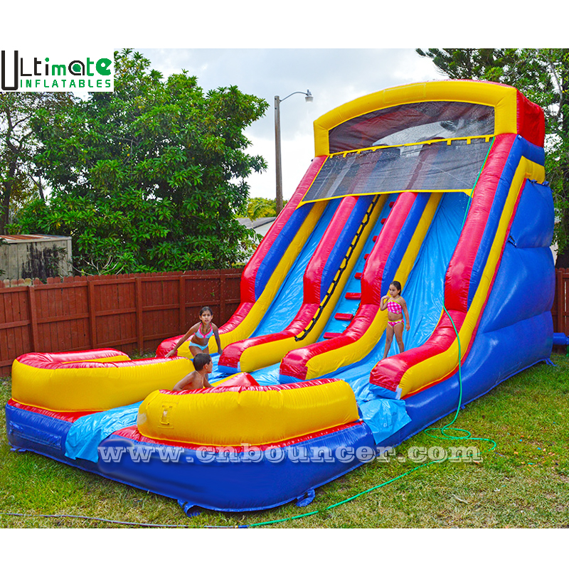 18ft high used commercial kids double lane inflatable pool water slide made of lead free pvc tarpaulin