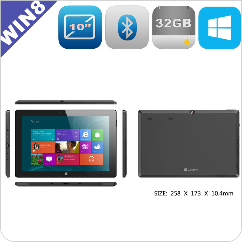 10.1 inch Windows 8 tablets 64GB and 3G option built-in IPS HDMI 10 points touch screen windows tablet PC