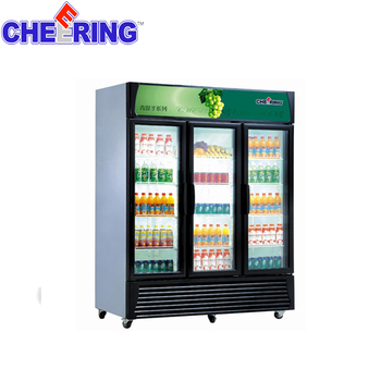 Three doors commercial  supermarket glass beverage  display cooler