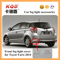 Chrome back Rear Bumper Fog Light Cover Trim para Toyot-Yaris 2014 body kit tail fog lamp spot mould auto accessorios