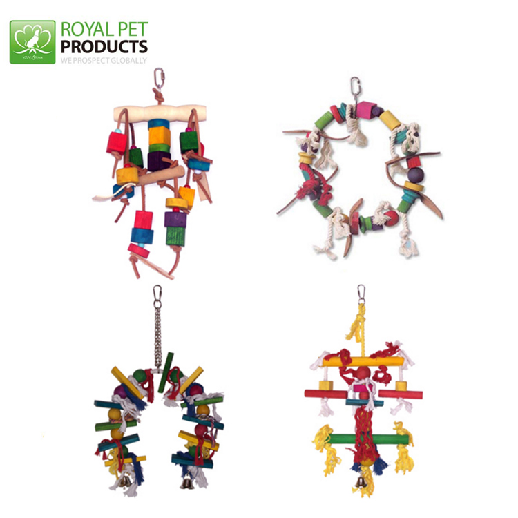 Colorful non-toxic hanging Rubber Parrot Wooden Bird Toy