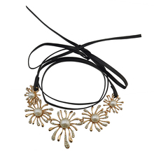 Black Leather Chain Gold Plated Rhinestone Pearl Flower Choker Necklace