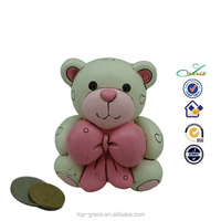 resin money bank handmade, polyresin bear piggy