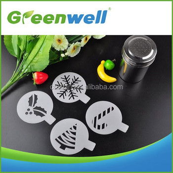 With food grade certification Cappuccino art plastic coffee stencils set