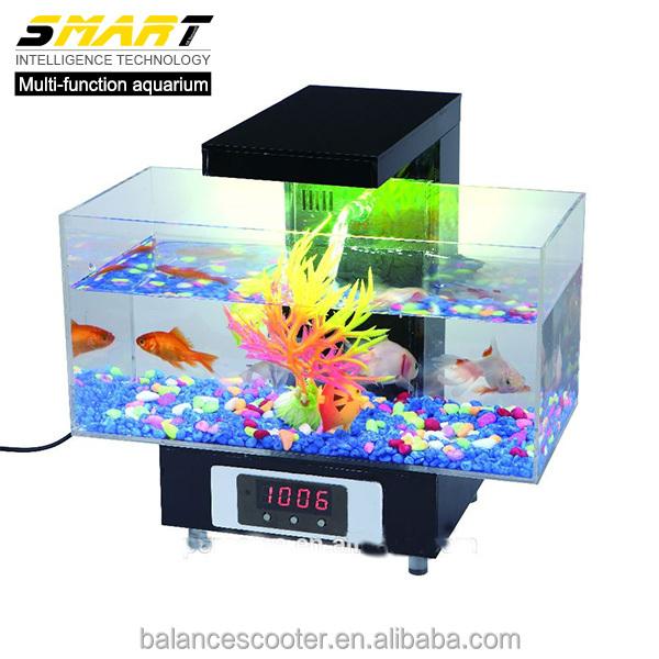 Shenzhen Manufacturer Office Desk Mini Fish Tank Led Acrylic Boyu Aquarium  With 13pcs LED Particles